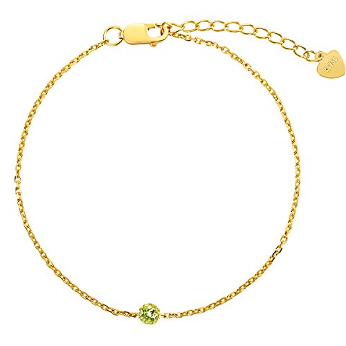 Carleen Solid 18K Yellow Gold Bracelet August Birthstone Peridot Gemstone Bracelets for Women, 5.90+1.20 inch 14k Yellow Gold Peridot Bracelet