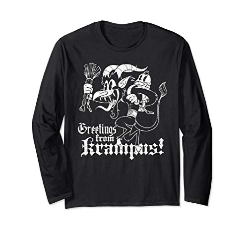 Greetings from Krampus Cartoon Style Long Sleeve Shirt]()