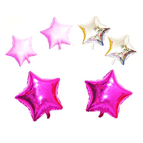 AZOWA Star Shape Foil Mylar Helium Balloon Party Decoration Foil Balloons Set of 6
