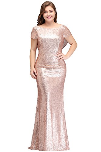 - Rose Gold Modest Sequin Bridesmaid Dresses Cowl Mermaid Prom Gowns Formal 26W