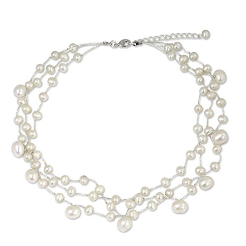 NOVICA White Cultured Freshwater Pearl Multi-Strand Bridal Choker, 15.5