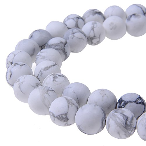 Howlite Natural Gemstone Beads - PLTbeads Gorgeous Black Stripe Howlite Natural Gemstone Loose Beads 8mm Matte Round Approxi 15.5 inch DIY Bracelet Necklace For Jewelry Making
