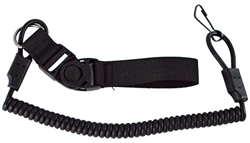 Tactical Coil Style Pistol Gun Lanyard, Black