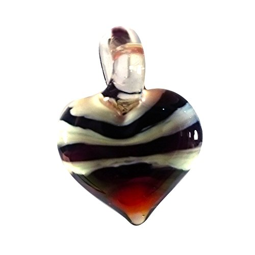 Sansukjai Black White Heart Love Pendant Necklace Glass Animals Figurines Hand Blown Glass Art Jewelry Blown Glass - Block Orange Ca At