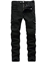 Men's Biker Moto Distressed Destroyed Fashion Skinny Fit Jeans