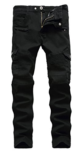 Tailored Straight Cut Pants - Men's Black Biker Jeans Slim Straight Stretch Skinny Fit Moto Denim Jeans,W36,Black