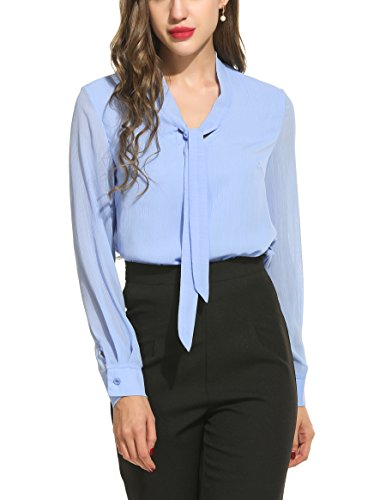 Plus Size Silk Blouse - ACEVOG Chiffon Blouses Womens Long Sleeve Collared Work Blouse with Tie,Light Blue,XX-Large