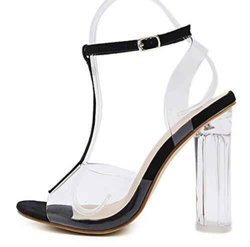 Fiesta Linyi De Zapatos Modelo Correa Black Tobillo Para Verano Vestir Toe Mujer Sandalias Desnuda Gruesos Peep xPRxBWgc