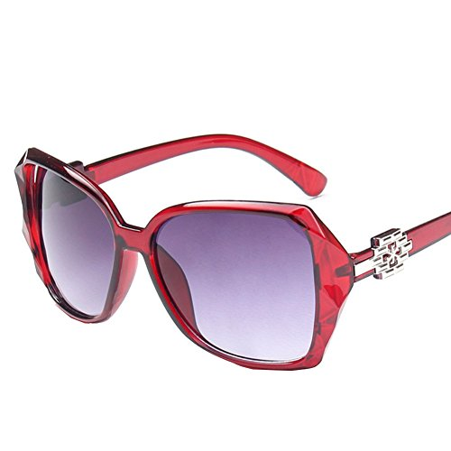 Sinkfish SG50011 Sunglasses for Womens,Anti-UV & Fashion Oval/Red Frames/Purple - Discount Hut The Student