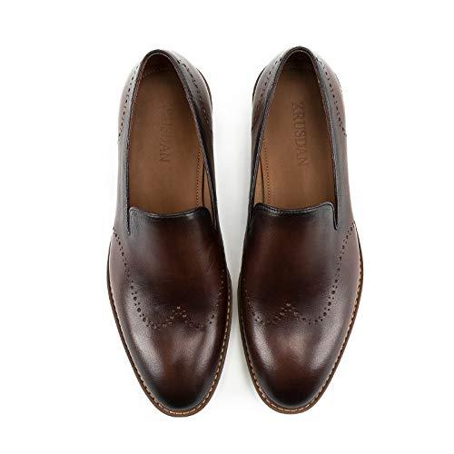 Ruanyi Casuales Oxfords Round Size Hombres De Genuino 43 Oficina Mocasines Brown Para Brown eu Mano Zapatos color Hechos A Block Masculina Cuero Head rxnrqS0p