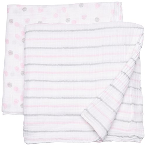 lulujo Baby Muslin Swaddling Blankets and Stroller Clips Baby Set, Pink ()
