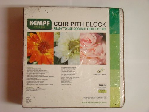 Kempf Compressed Coco Fiber Growing Potting Mix 10-Pound Block, - Coir Brick