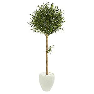 Nearly Natural 9229 5-Ft. Olive Topiary Artificial White Planter Silk Trees Green 65