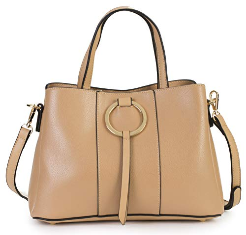 (MABEL LONDON Genuine Italian Soft Leather Medium Hobo Shopper Shoulder bag - LUMITRON [Beige])