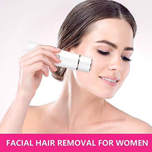 Facial Hair Remover For Women Rechargeable - Painless Waterproof Hair Removal Trimmer for Face, Peach Fuzz, Upper Lip and Armpit