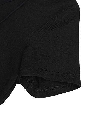StyleDome Mujer Camiseta Playa Mangas Cortas Cuello Pico Con Tiras Blusa Elegante Oficina Negro