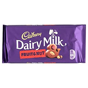 Cadbury Chocolate Bar 200g (7oz) - Made in England (Cadbury FRUIT & NUT 200g (7oz))