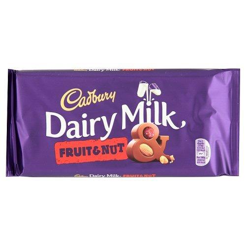 Fruit Dairy Nuts (Cadbury Chocolate Bar 200g (7oz) - Made in England (Cadbury FRUIT & NUT 200g (7oz)))