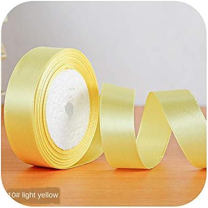 kawayi-桃 22メートル/ロールサテンリボン卸売ギフトパッキングクリスマスの装飾手作りdiyリボンロール生地(6/10/12/15/20/25 / 40mm)-light yellow-15mm