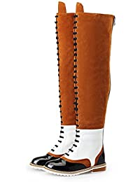 Genuine Leather Womens Flat Heel Round Toe Lace Up Handmade Over The Knee Long Boots