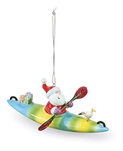 Santa on a Kayak Christmas Ornament by Cape Shore (Surfing Ornament Santa)