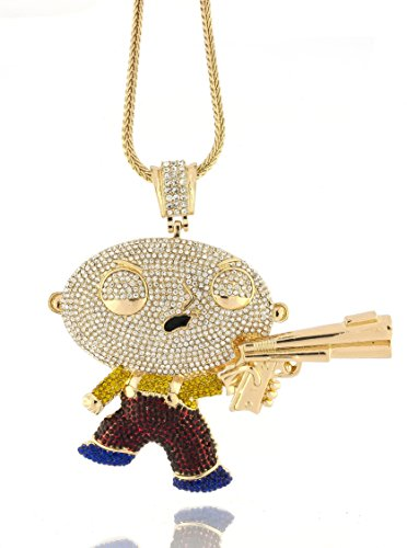 Iced out gold family guy stewie pendant w 30 36 franco chain save aloadofball