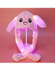 Kaninhatt, Plush Bunny Öron Huvudband Intressant Kanin Kawaii Hat Airbag Cap Flytta Bunny Öron, Kvinnor Flickor Rolig Plush Animal Ear Hat Födelsedagspresent,Luminous pink
