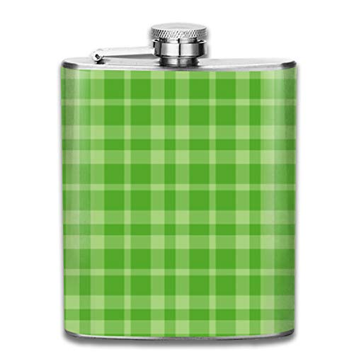 Flasks Green Dark Lime Plaid Stainless Steel Flask - 7OZ