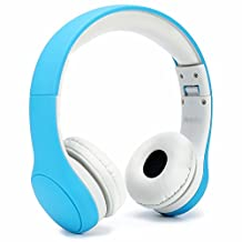 Anble Volume Limited Foldable Wired Kids Headphones with a Microphone for Children - Blue