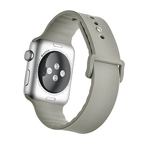 Apple Watch Band, Soft Silicone Sport Style Replacement Iwatch Strap for Apple Wrist Watch (Fog 42mm)