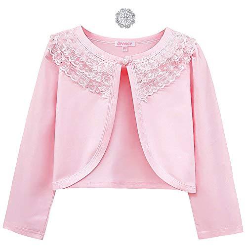 Shrugs for Girls Bolero Cardigan Button Closure Long Sleeve Dress Cover Up Pink (Cardigan Sweater Pink Girls)