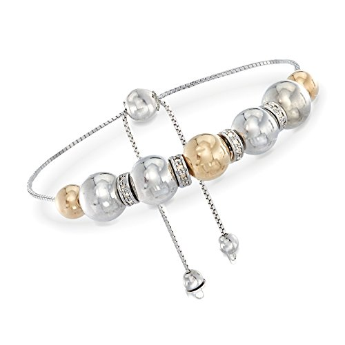 Ross-Simons 6-8mm Sterling Silver and 14kt Yellow Gold Bead Bolo Bracelet With .24 ct. t.w. Diamonds ()