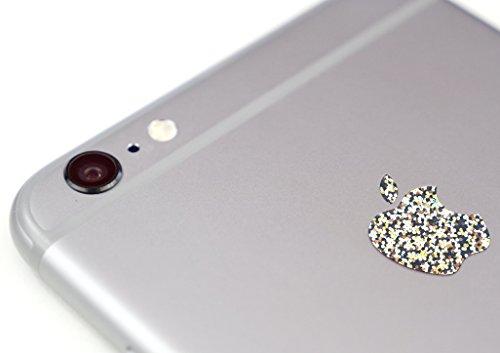 Glitter Silver Color Changer Overlay for Apple iPhone 6 and 6 Plus Logo Vinyl Sticker Decal (Apple Logo Mug)