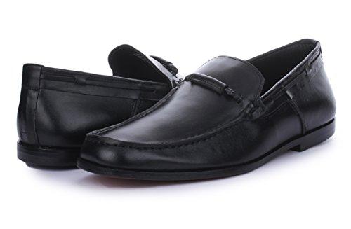Frihet Mens Klassisk Rund Tå Läder Fodrad Slip På Klänning Dagdrivare Skor Svarta