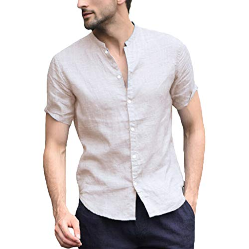 Mens Casual Short Sleeve Lightweight Linen Cotton Basic Tee Tops Button Down Shirt (XXXL, Beige) (Furniture Garden Sale For Victorian)