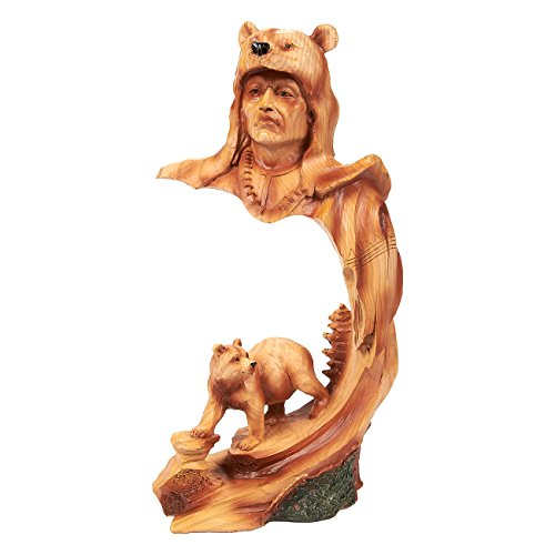 Juvale Native American Indian Figurine - Indian Warrior Native Decor, Polyresin Face and Bear Indian Sculpture for Interior Decoration, Brown - 4.5 x 9 x 3 Inches