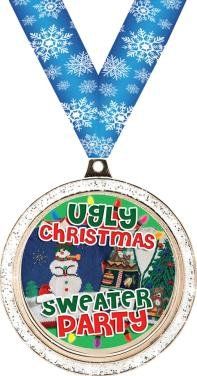 CHRISTMAS MEDALS - 2'' Silver Glitter Ugly Christmas Sweater Party Medal 50 Pack by Crown Awards