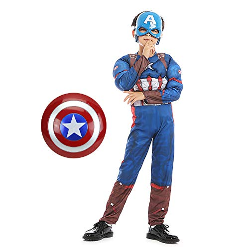 Captain America Movie Classic Boys' Muscle Costume Superhero Fancy Set Halloween Costume with Shield and Mask Blue