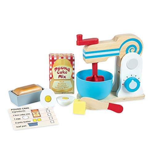 Melissa & Doug Wooden Make-a-Cake Mixer Set (Kitchen Toy, Numbered Turning Dials, Encourages Creative Thinking, 11-Piece Set, Great Gift for Girls and Boys - Best for 3, 4, 5 Year Olds and Up)