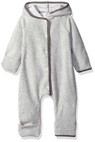 Zutano Baby Solid Fleece Elf Romper, Heather Gray, 6 Months