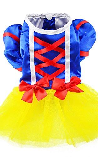 Columbustore Dog Cat Pet Puppy Snow White Clothes Skirt Dress -Yellow/Blue-M