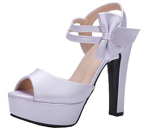VogueZone009 Women Microfibre Hook-and-Loop Peep-Toe High-Heels Solid Sandals Purple