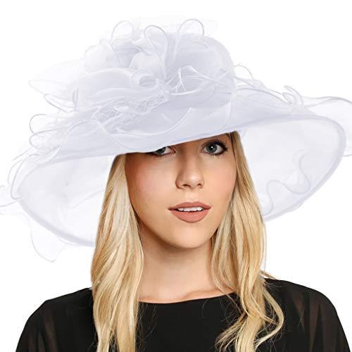 Women Floral Wide Brim Church Derby Kentucky Dress Hat (S042-white)