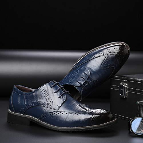 Derby Nero Blu Blu Marrone Basse Scarpe LILY999 Oxford Brogue Stringate Uomo Vintage Elegante v07nHw