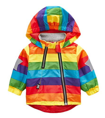 (Boy and Girl Reflective Safety Jacket Outerwear Colorful Printed Zipper Hooded Jackets Coat for 1-6T)