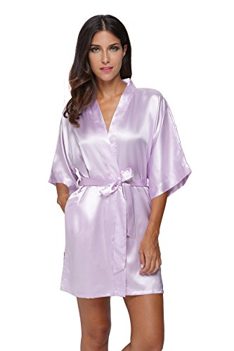 The Bund Women's Pure Colour Short Kimono Robes with Oblique V-Neck, XX-Large, Light Purple Dry Clean Silk Tie