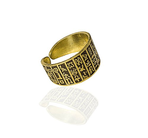 bonballoon Egyptian Finger Ring FingerRing Hieroglyphics Hieroglyphic Pharaoh Goddess Solid Brass Hand Engraved Adjustable Egypt pharaohs Costume Jewelry Accessory Handmade -