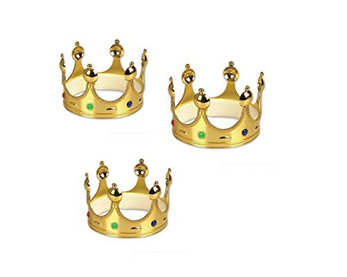 Gold King Prince or Queen Crowns - 3 Pack