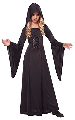 California Costumes Hooded Robe Costume, One Color, 12-14 (Black Dress Halloween Costumes)