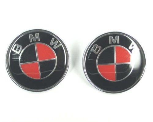 82mm82 Mm Carbon Fiber Redblack Hood Trunk Emblem Roundle Logo For